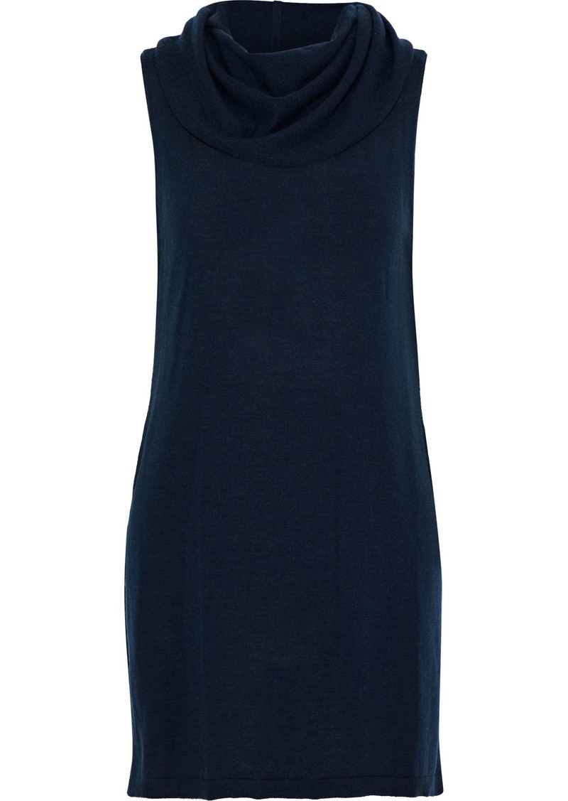 Alice + Olivia Woman Sharron Wool And Cashmere-blend Top Navy