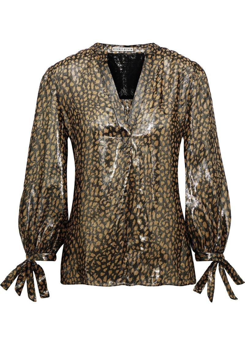 Alice + Olivia Woman Shelia Metallic Leopard-print Silk-blend Blouse Gold
