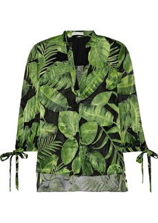 Alice + Olivia Woman Shelia Printed Fil Coupé Chiffon Blouse Green