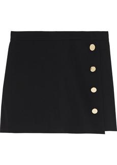 Alice + Olivia Woman Sherilyn Wrap-effect Button-embellished Twill Shorts Black
