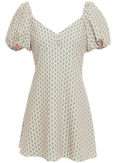 Alice + Olivia Woman Solstice Gathered Printed Crepe Mini Dress Sky Blue
