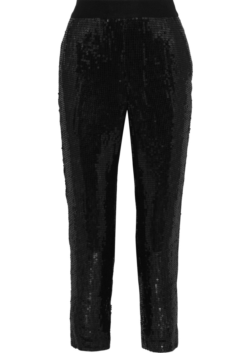 Alice + Olivia Woman Stacey Cropped Sequined Crepe Slim-leg Pants Black