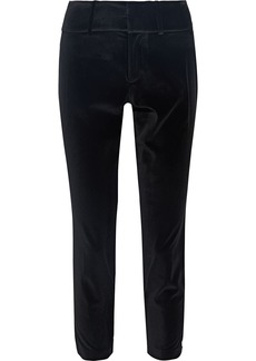 Alice + Olivia Woman Stacey Cropped Velvet Slim-leg Pants Black