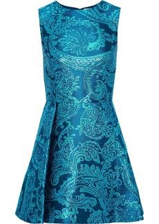 Alice + Olivia Woman Stasia Pleated Metallic Brocade Mini Dress Turquoise