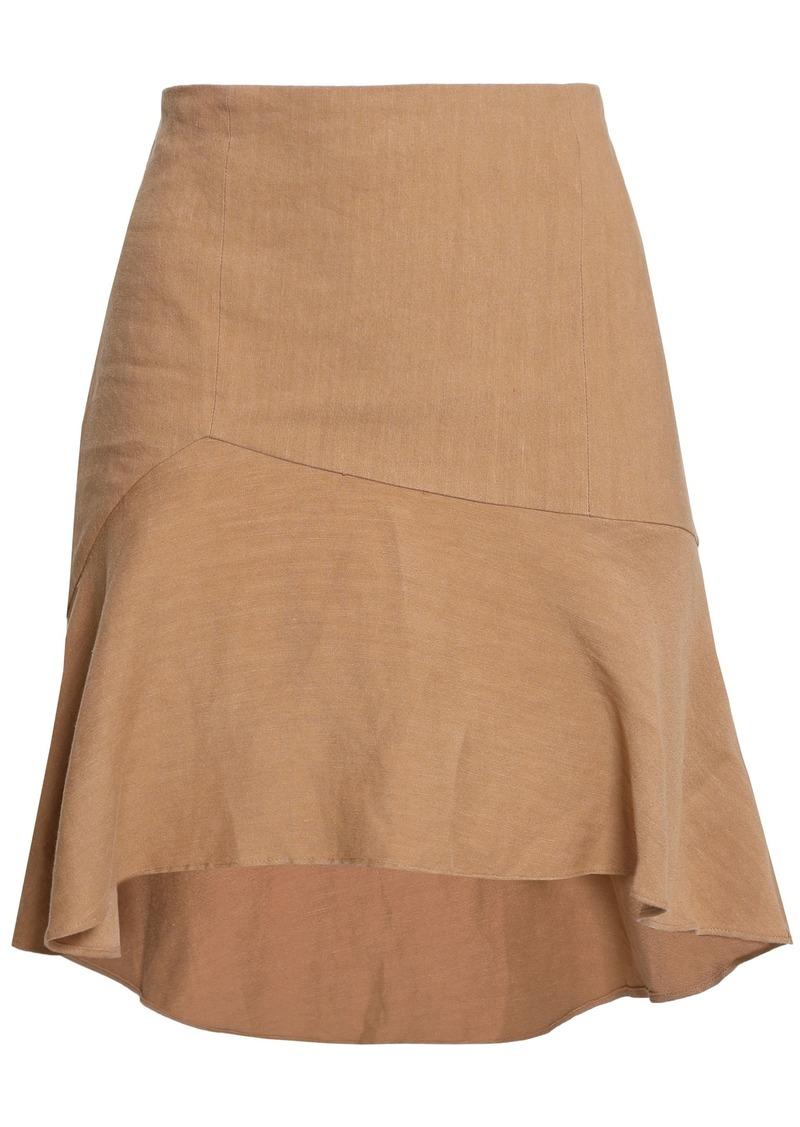 Alice + Olivia Woman Steffe Asymmetric Linen-blend Mini Skirt Sand