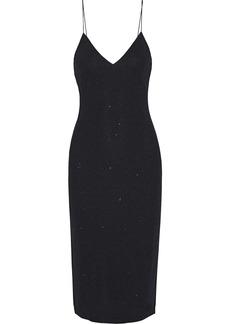 Alice + Olivia Woman Stila Metallic Stretch-crepe Midi Slip Dress Black