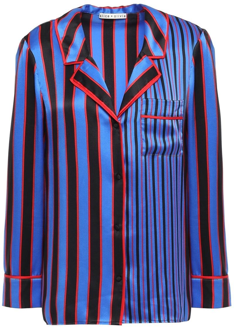 Alice + Olivia Woman Striped Silk-satin Shirt Bright Blue
