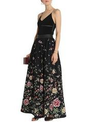 Alice + Olivia Woman Studded Embroidered Poplin Maxi Skirt Black