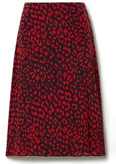 Alice + Olivia Woman Sula Leopard-print Silk Crepe De Chine Skirt Black