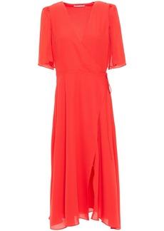 Alice + Olivia Woman Suri Georgette-paneled Crepe Midi Wrap Dress Tomato Red