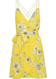 Alice + Olivia Woman Susana Wrap-effect Floral-print Crepe De Chine Mini Dress Yellow