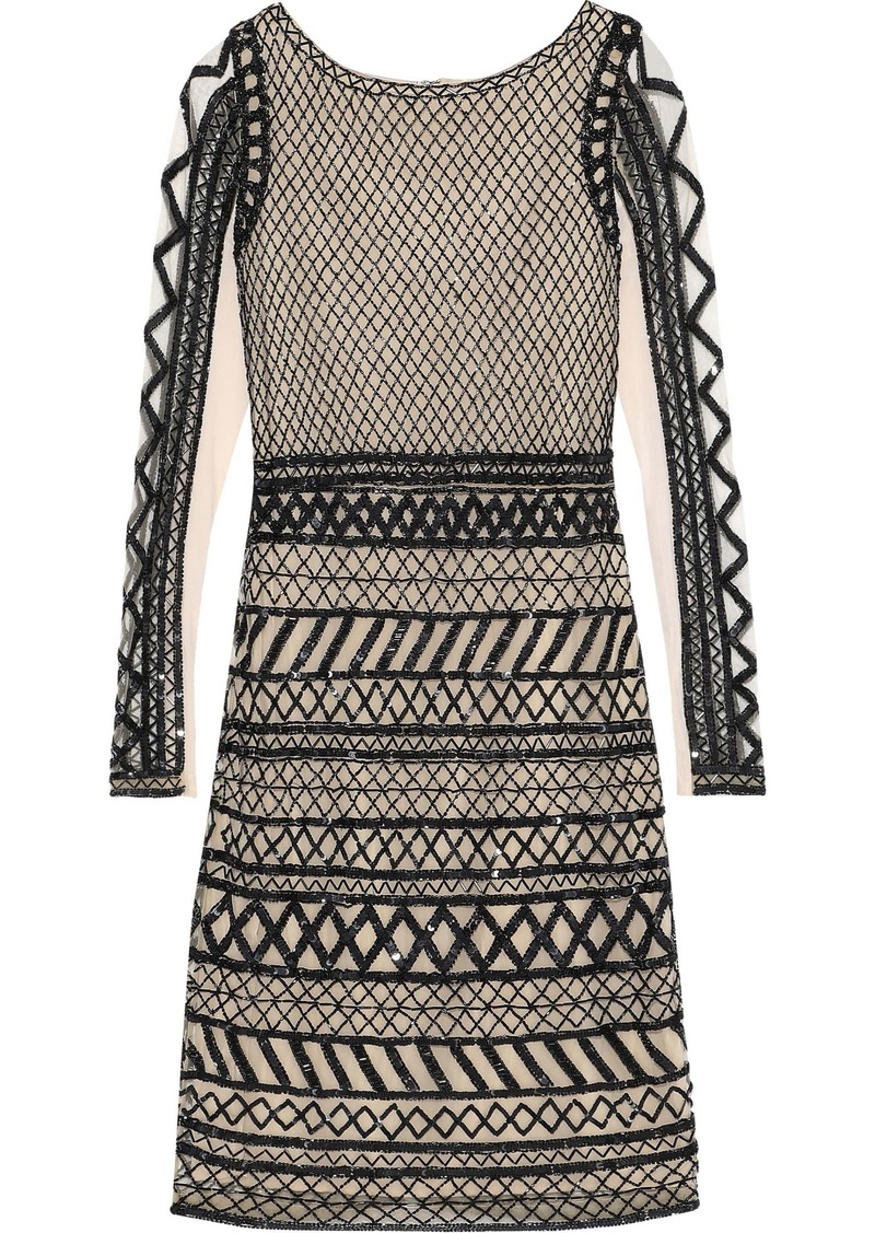 Alice + Olivia Woman Tabitha Sequin And Bead-embellished Tulle Dress Black