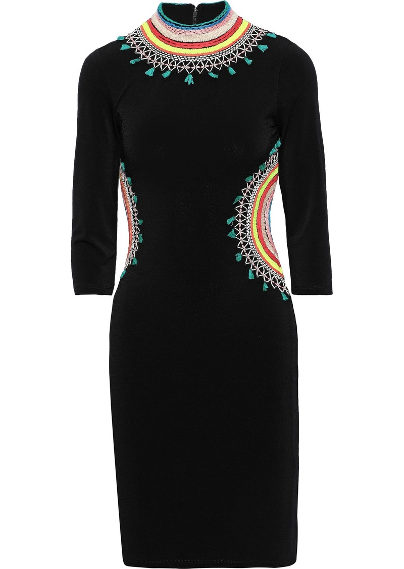 Alice + Olivia Woman Tamson Cutout Embroidered Stretch-crepe Mini Dress Black