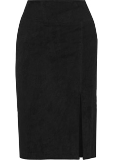 Alice + Olivia Woman Tani Suede Pencil Skirt Black
