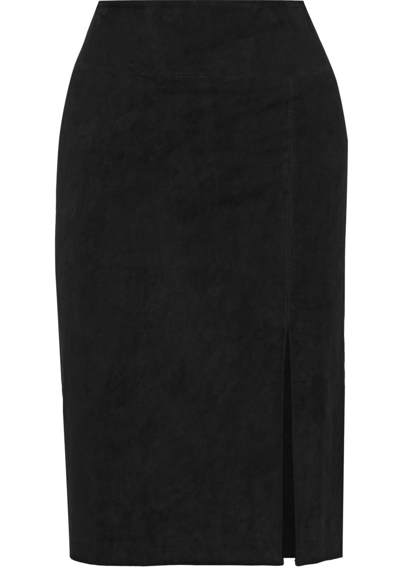Alice + Olivia Woman Tani Suede Pencil Skirt Black