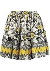 Alice + Olivia Woman Tania Pleated Cotton-blend Jacquard Mini Skirt Yellow