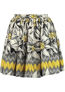 Alice + Olivia Woman Tania Pleated Cotton-blend Jacquard Mini Skirt Yellow
