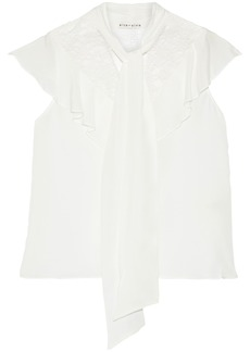 Alice + Olivia Woman Terry Tie-neck Chantilly Lace-paneled Silk Crepe De Chine Blouse Ivory