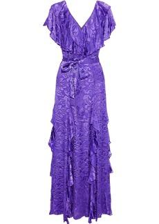 Alice + Olivia Woman Tessa Ruffled Fil Coupé Chiffon Maxi Dress Purple