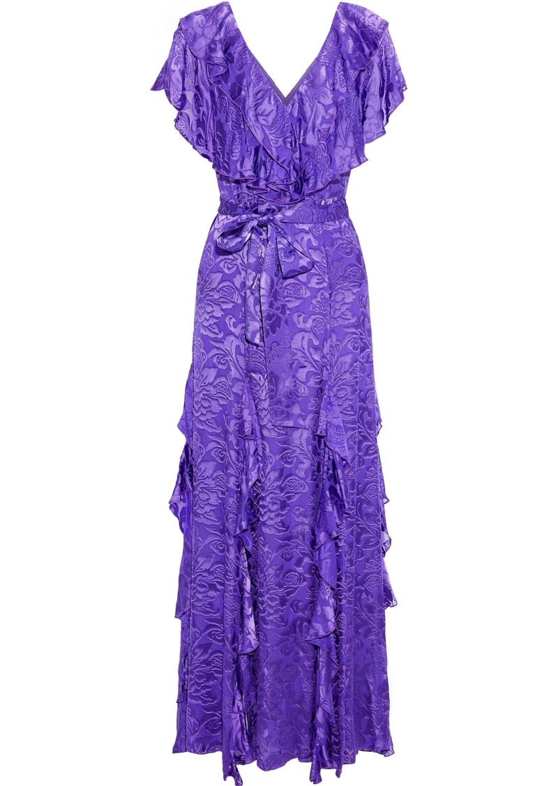 Alice + Olivia Woman Tessa Ruffled Fil Coupé Chiffon Maxi Dress Purple