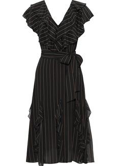Alice + Olivia Woman Tessa Ruffled Pinstriped Crepe De Chine Dress Black