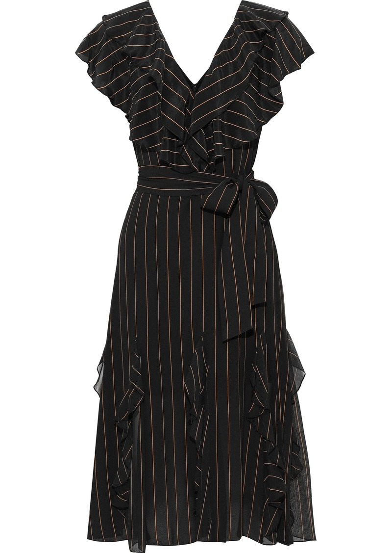 Alice + Olivia Woman Tessa Ruffled Pinstriped Crepe De Chine Dress Black