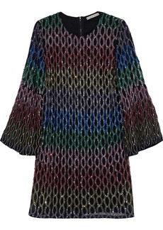 Alice + Olivia Woman Thym Embellished Chiffon Mini Dress Black