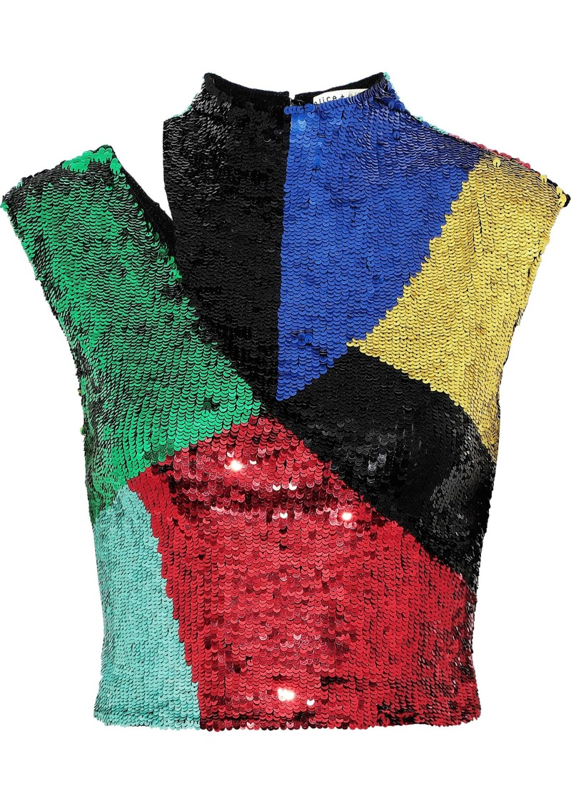 Alice + Olivia Woman Tiana Cropped Cutout Sequined Mesh Top Multicolor