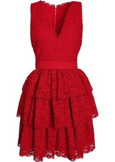Alice + Olivia Woman Tiered Lace Dress Red