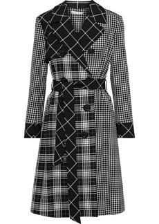 Alice + Olivia Woman Timpson Paneled Checked Twill Trench Coat Black