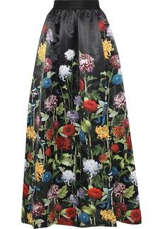 Alice + Olivia Woman Tina Gathered Floral-print Satin Maxi Skirt Black