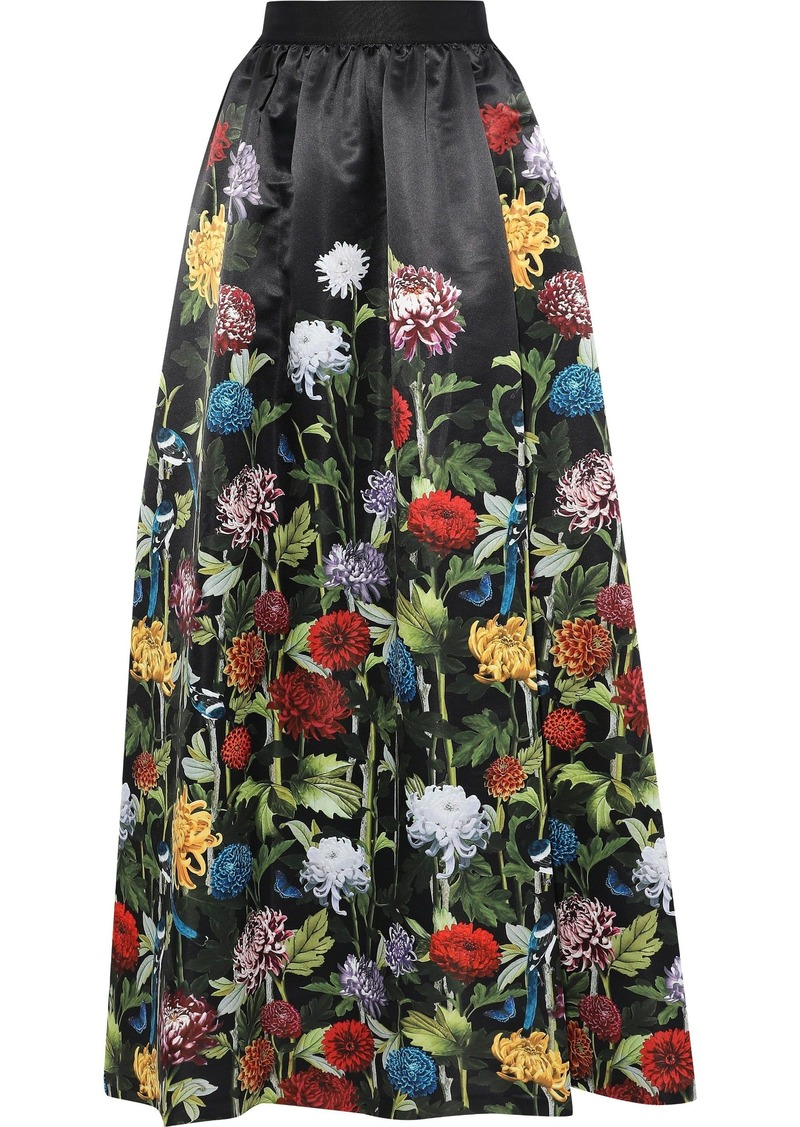 Alice + Olivia Woman Tina Gathered Floral-print Satin Maxi Skirt Black