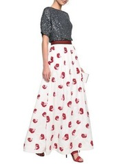 Alice + Olivia Woman Tina Sequin-embellished Satin-crepe Maxi Skirt Off-white