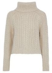 Alice + Olivia Woman Tobin Cable-knit Wool-blend Turtleneck Sweater Beige