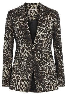 Alice + Olivia Woman Toby Metallic Cotton-blend Leopard-jacquard Blazer Animal Print