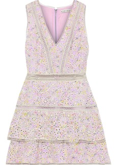 Alice + Olivia Woman Tonie Tiered Floral-print Broderie Anglaise Modal Mini Dress Lilac