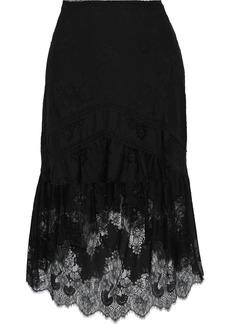 Alice + Olivia Woman Triss Fluted Lace Skirt Black