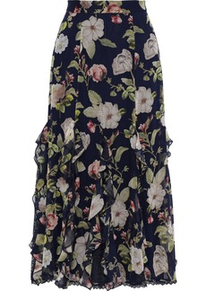 Alice + Olivia Woman Uma Ruffled Floral-print Silk-chiffon Midi Skirt Navy