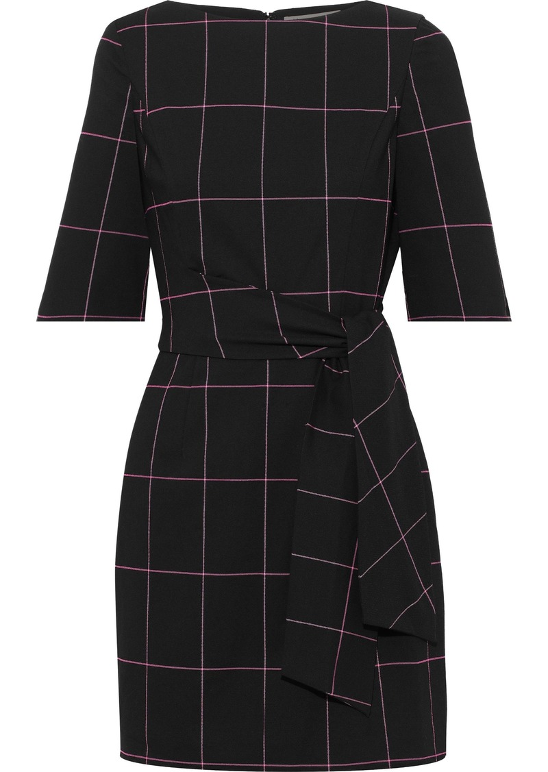 Alice + Olivia Woman Virgil Tie-front Checked Twill Mini Dress Black
