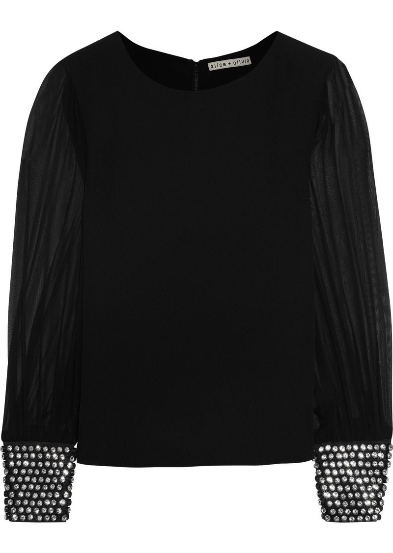 Alice + Olivia Woman Vix Crystal-embellished Chiffon-paneled Silk-crepe Top Black