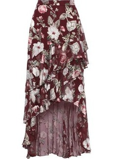 Alice + Olivia Woman Walker Asymmetric Floral-print Fil Coupé Chiffon Skirt Plum