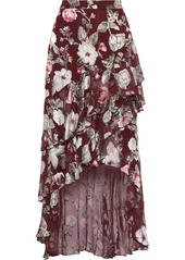 Alice + Olivia Woman Walker Asymmetric Floral-print Fil Coupé Chiffon Skirt Plum