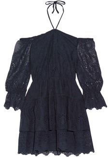 Alice + Olivia Woman Waylon Off-the-shoulder Broderie Anglaise Mini Dress Midnight Blue