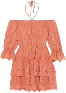 Alice + Olivia Woman Waylon Off-the-shoulder Broderie Anglaise Mini Dress Antique Rose