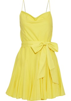 Alice + Olivia Woman Webber Belted Cotton-voile Mini Dress Yellow
