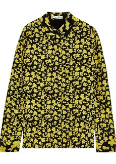Alice + Olivia Woman Willa Floral-print Silk Crepe De Chine Shirt Chartreuse