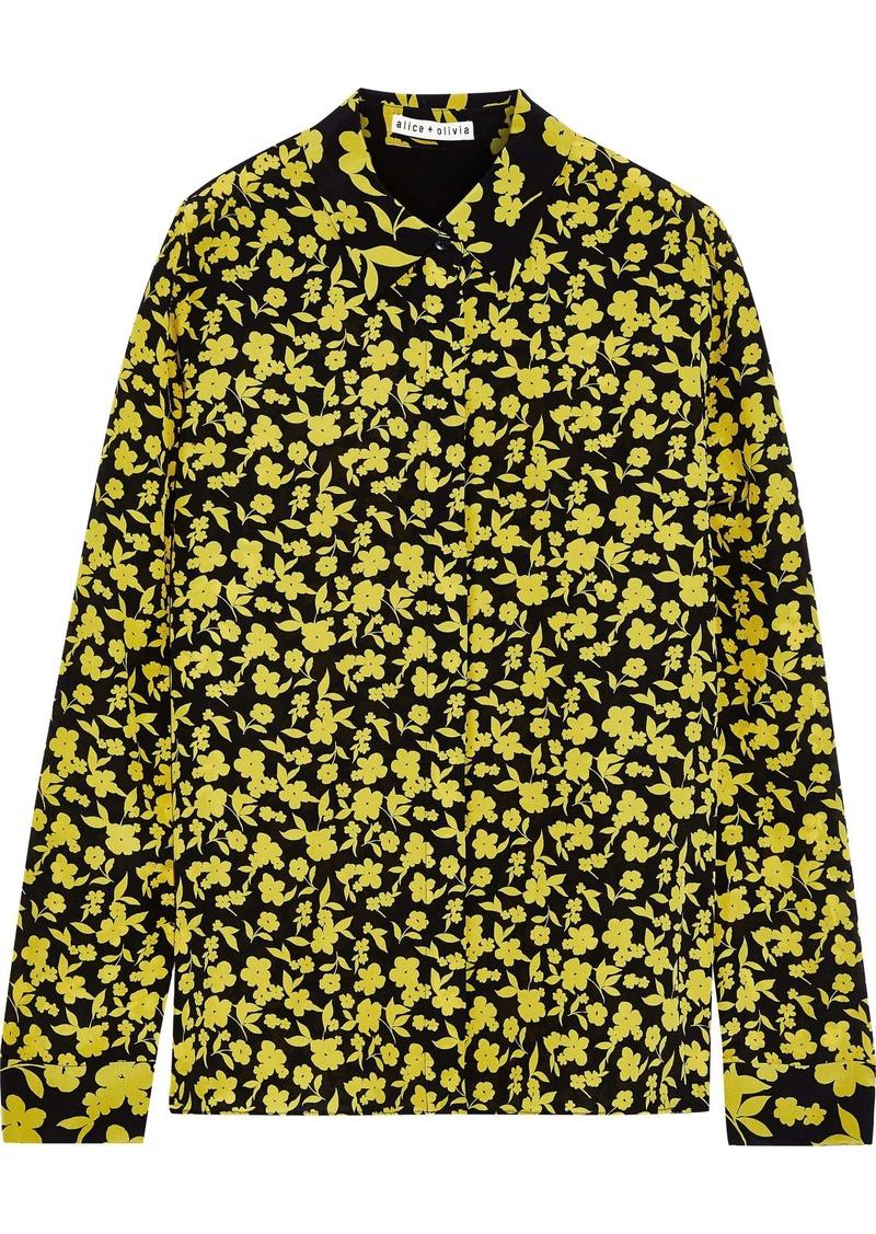 Alice + Olivia Woman Willa Floral-print Silk Crepe De Chine Shirt Chartreuse