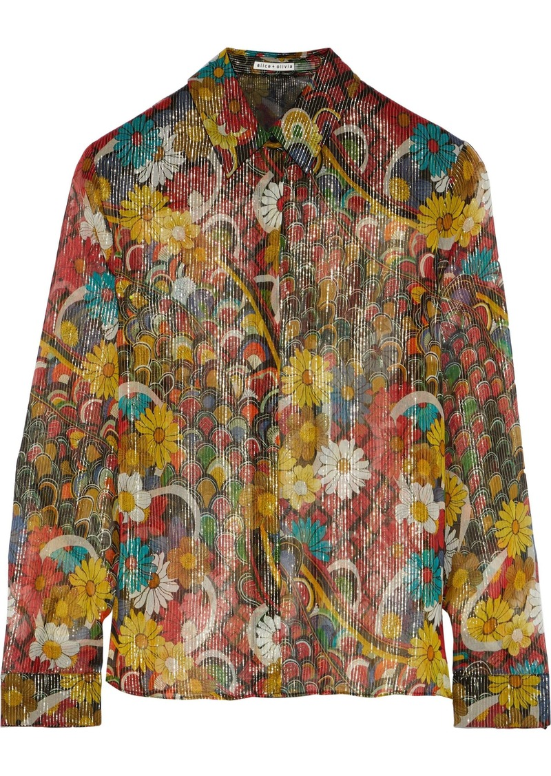 Alice + Olivia Woman Willa Metallic Printed Silk-chiffon Shirt Multicolor