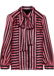 Alice + Olivia Woman Willis Pussy-bow Striped Burnout Satin Blouse Bubblegum