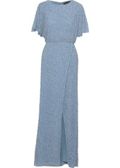 Alice + Olivia Woman Wrap-effect Embellished Crepe De Chine Gown Light Blue